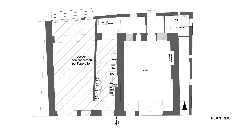 Atelier RK/Pignon sur l'eau/Montignac/Plan du rez de chaussée